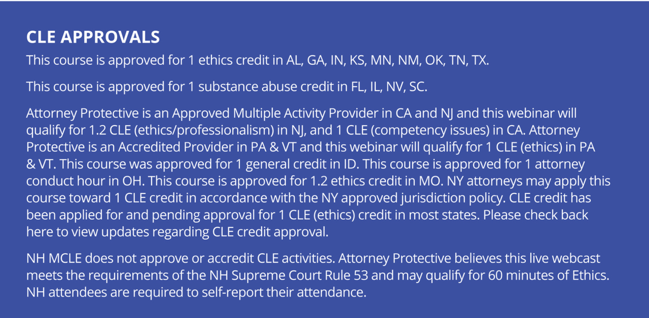 CLE Approvals by State