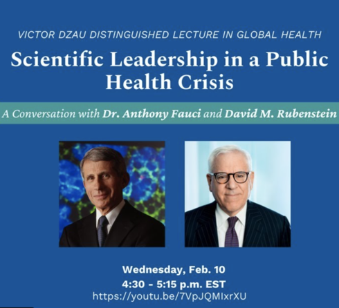 Flyer with images of Dr. Anthony Fauci and David M. Rubenstein on a blue background