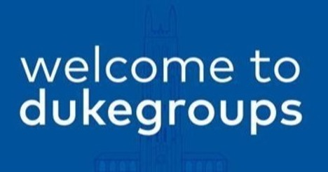 welcome to dukegroups in white text on blue background with faint outline of duke chapel