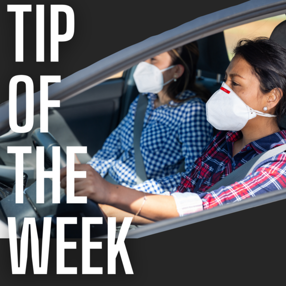 tip of the week in large white text over a photo of a person running with a mask on