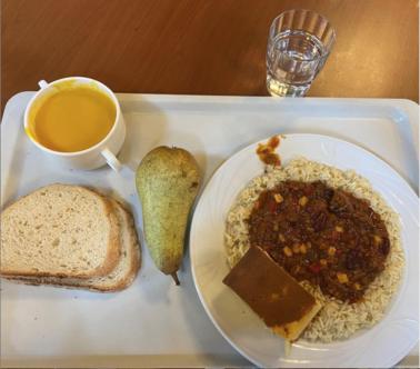 Chili, soup, cornbread, and pear