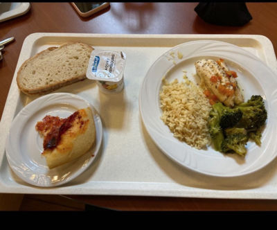 halibut rice and broccoli medley with a side of pizza and some yogurt