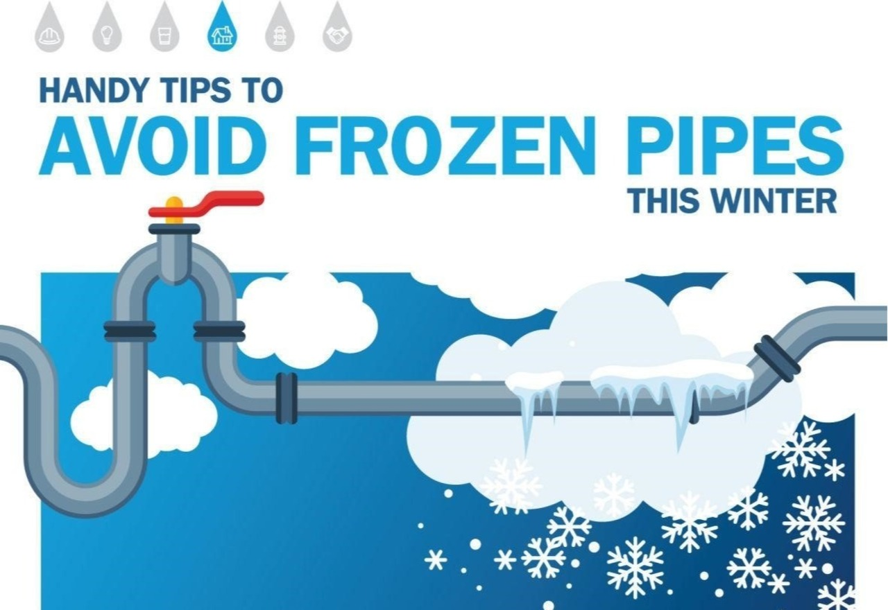clip art image of house pipe work with snowflakes and ice with text: Hand Tips to Avoid Frozen Piples