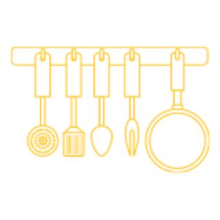 Kitchen utensils hanging graphic