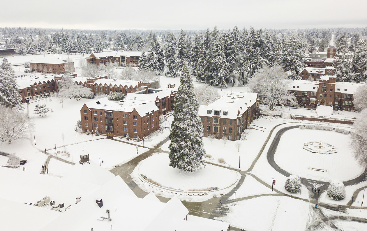 Drone view of snow on campus