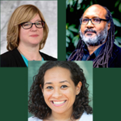 American Jews, Race and History on green banner with photos of speakers