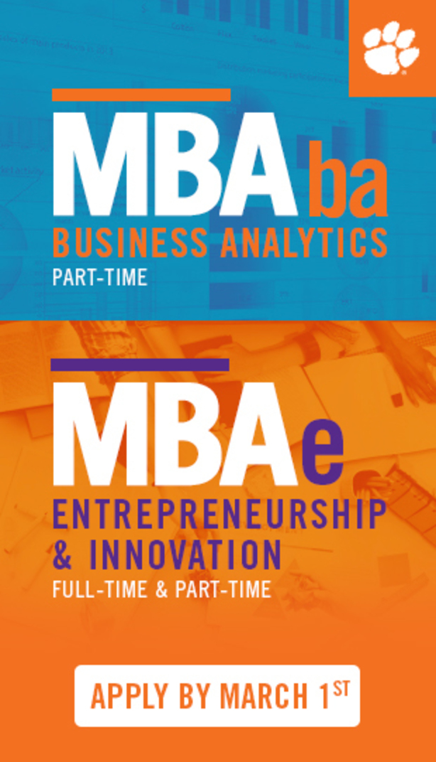 MBAba Business Analytics Part-time MBAe Entrpreneurship & Innovation Full-time, Part-Time, Apply by March 1st