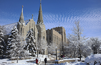 St. John's Church and Creighton Hall covered in snow