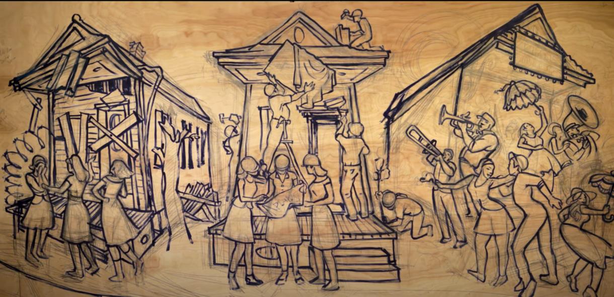 Terrance Osborne sketch of SSW Trailblazers painting