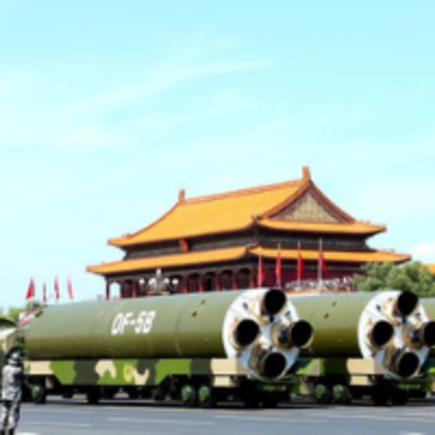 nuclear tanks infront of building