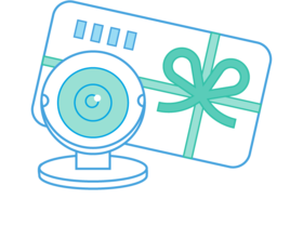 Illustration of a webcam and a gift card