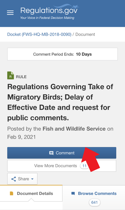 Image: screenshot of the regulations.gov website illustrating where to find the