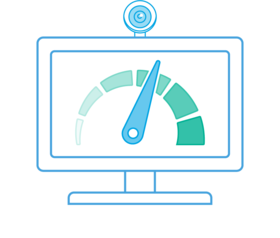 Illustration of a computer, webcam and a speedometer.