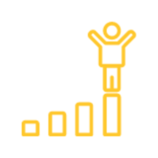 Person climbing bar chart graphic