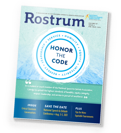 Rostrum magazine cover. A seal-like circle featuring the Code of Honnor covers the peak of a pale blue mountain