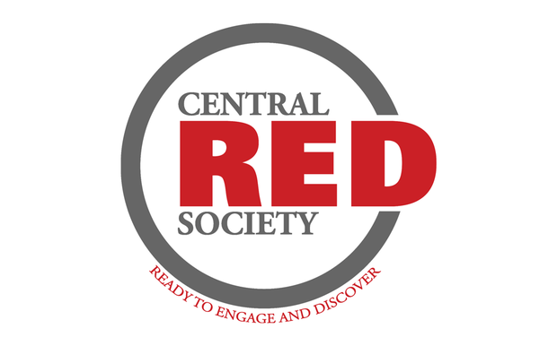 White graphic with a gray and red text CENTRAL RED SOCIETY encompassed by a gray cirle and red text below READY TO ENGAGE AND DISCOVER
