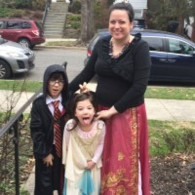 Sarah Rabin Spira with her children in Purim costume