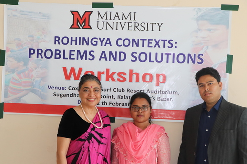 Fauzia Ahmed poses with co-presenters at the Rohingya Contexts workshop
