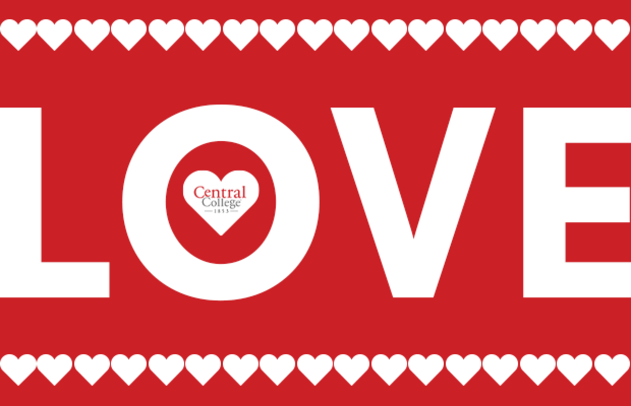 Red and white LOVE graphic