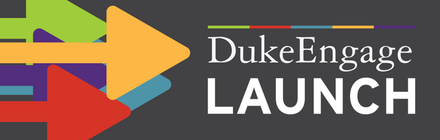 multi-colored arrows pointing right to the duke engage logo on dark grey background