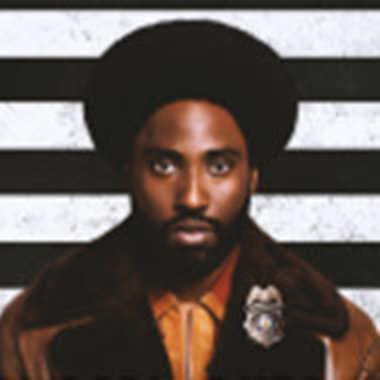 Actor John David Washington as detective Ron Stallworth from the BlacKkKlansman movie poster