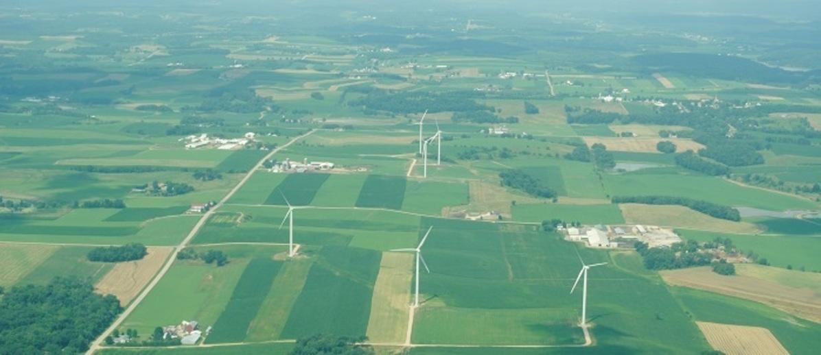 Aerial image of agricultural lands