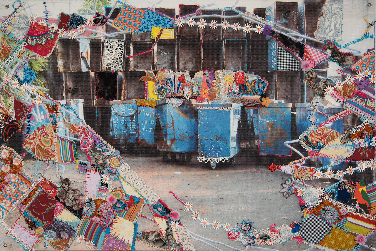 Woolpunk (b. 1971) Blue Carts & Barbed Wired, 2018 Digital image on vinyl banner with needlework Gift of the artist 2019.9