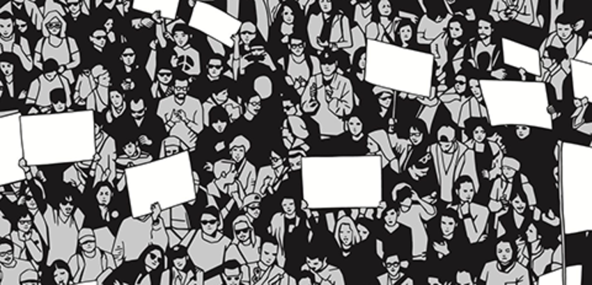 Sketch of crowd of people, some holding signs, link to discussion series on democracy