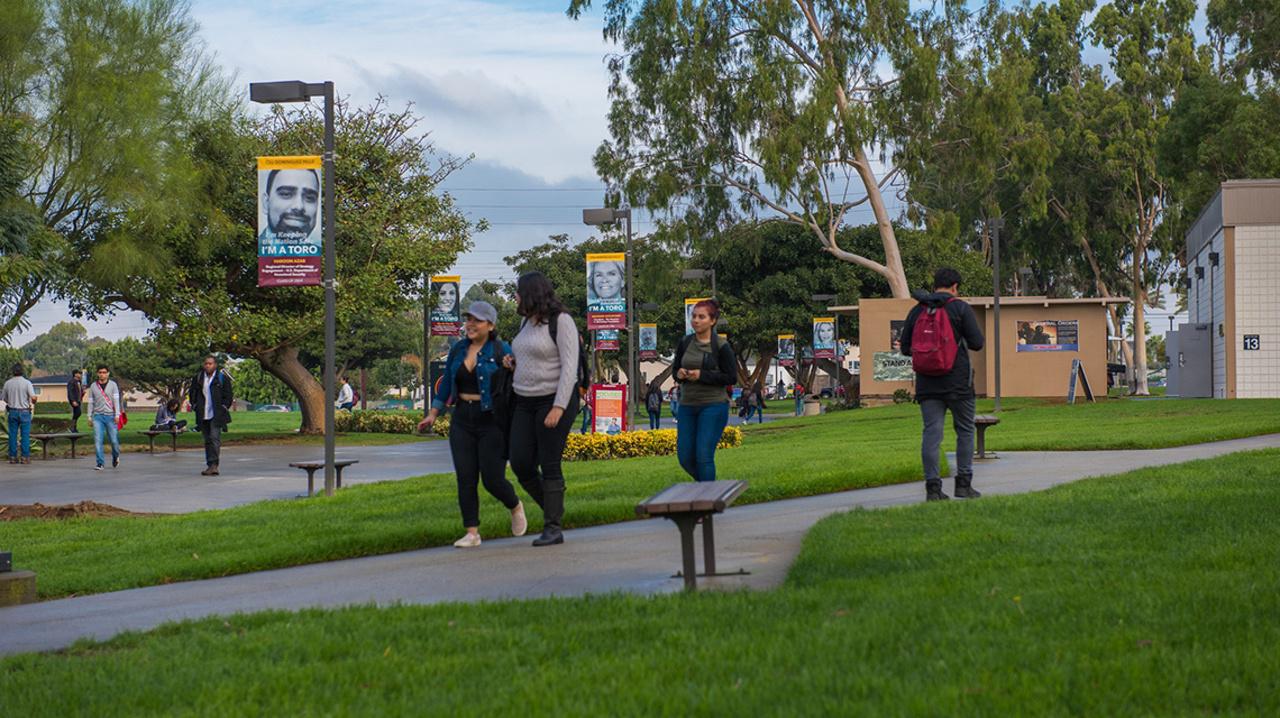 Student banners along walkway