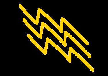 A handdrawn yellow lightning bolt