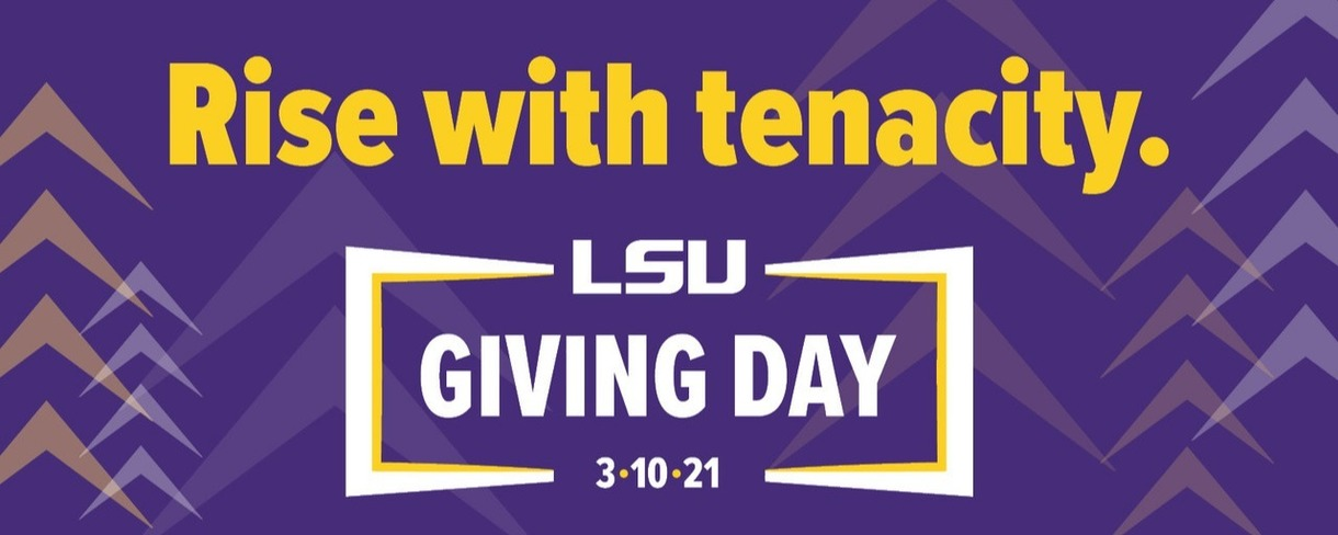 Giving Day 2021 Logo and the text Rising with Tenacity. Background is purple with gold and white up arrows.