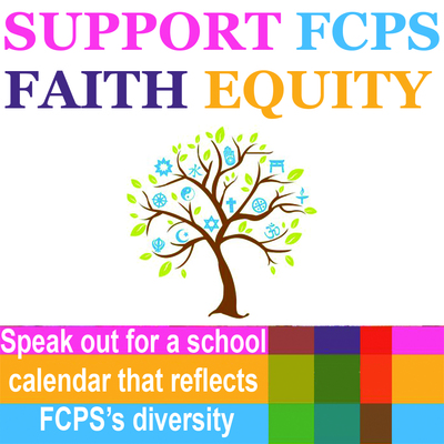 Support FCPS Faith Equality logo. Speak out for a school calendar that reflects FCPS's diversity