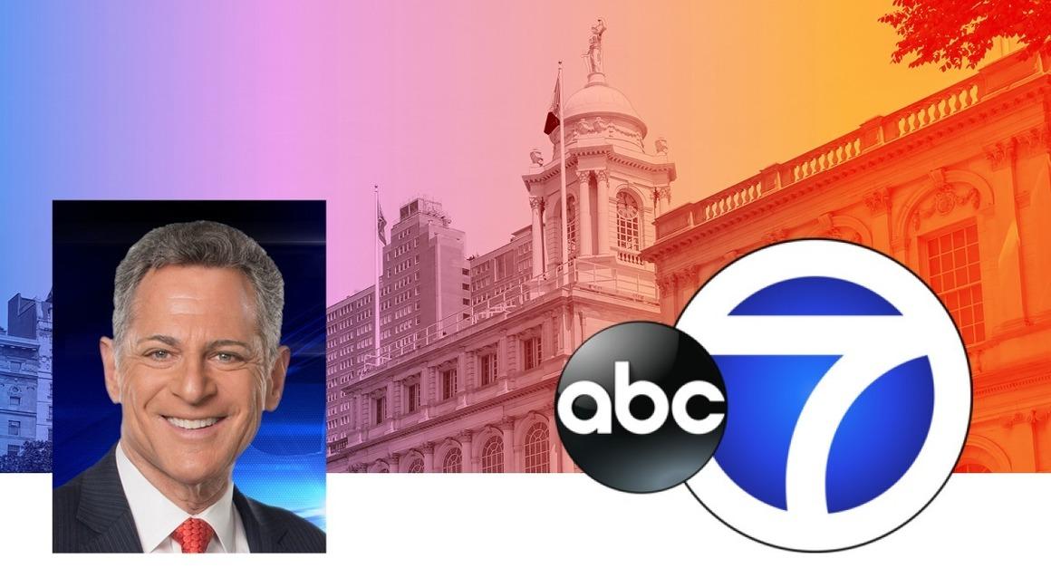 Photo of Bill Ritter, WABC logo, and city hall