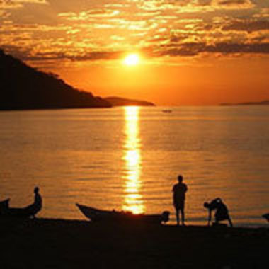 sunset reflected on the water in Sub-Saharan Africa