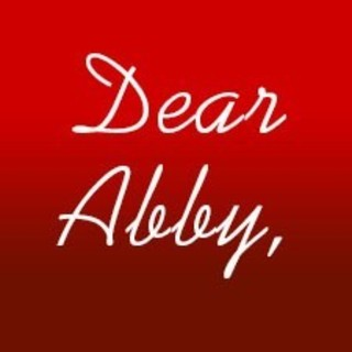 Red image with the words Dear Abby in white