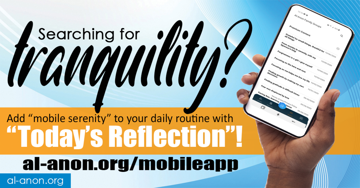 image of a hand holding a smart phone with the home screen of the Al-Anon Family Groups mobile app, with the words Searching for tranquility? to the left of it.