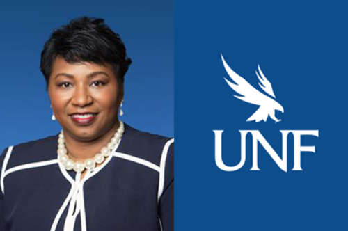 Diana Greene photo on left, and UNF logo on the right