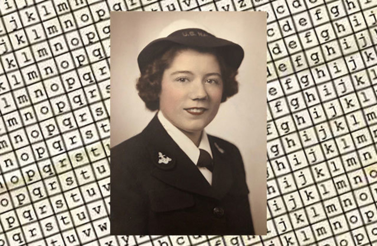 inset head-and-shoulders photo from the mid-1940s of Dorothy Ramale in her US Navy uniform on top of a detail of the Vigenère square