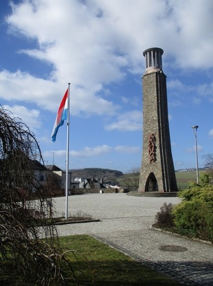Tower in luxembourg with lux flag