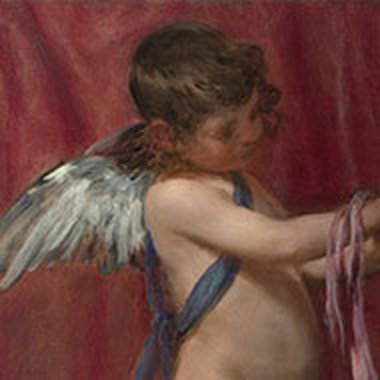 """detail of winged boy from Diego Velázquez's """"Rokeby Venus"""" painting"""