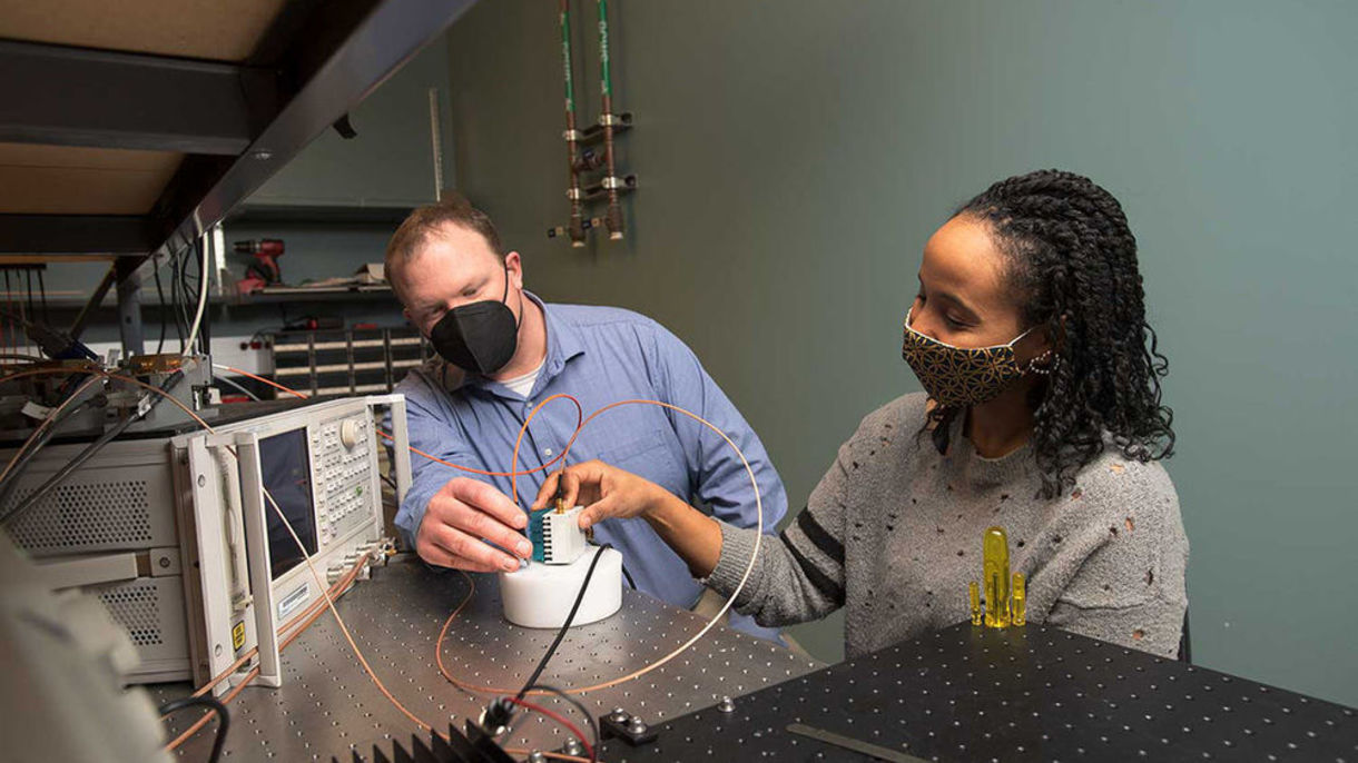 Thomas O'Sullivan, assistant professor of electrical engineering, and Ola Abdalsalam, Ph.D. student.