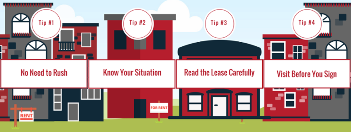 Tips for Off-Campus Housing: No need to Rush, Know your Situation, Read Leases Carefully, Visit Before you Sign