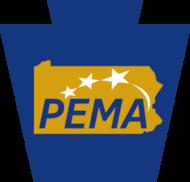 PEMA keystone logo in blue, gold, and white
