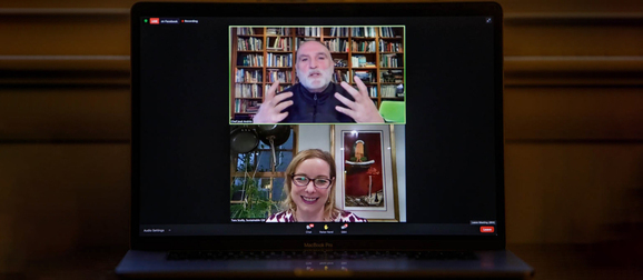 Jose Andres and Tara Scully on a zoom call