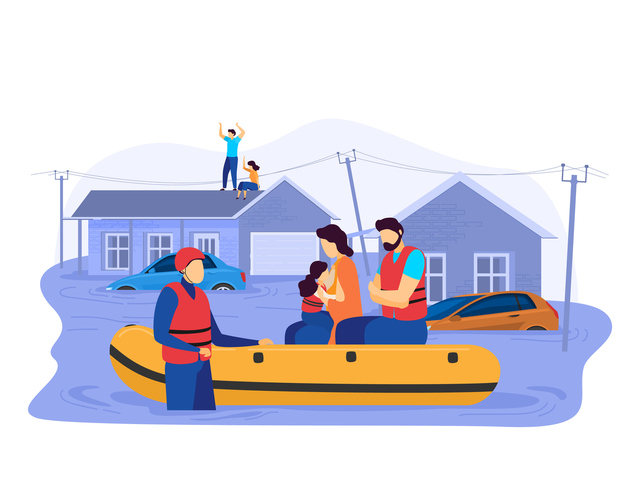 People on boats around flooded homes
