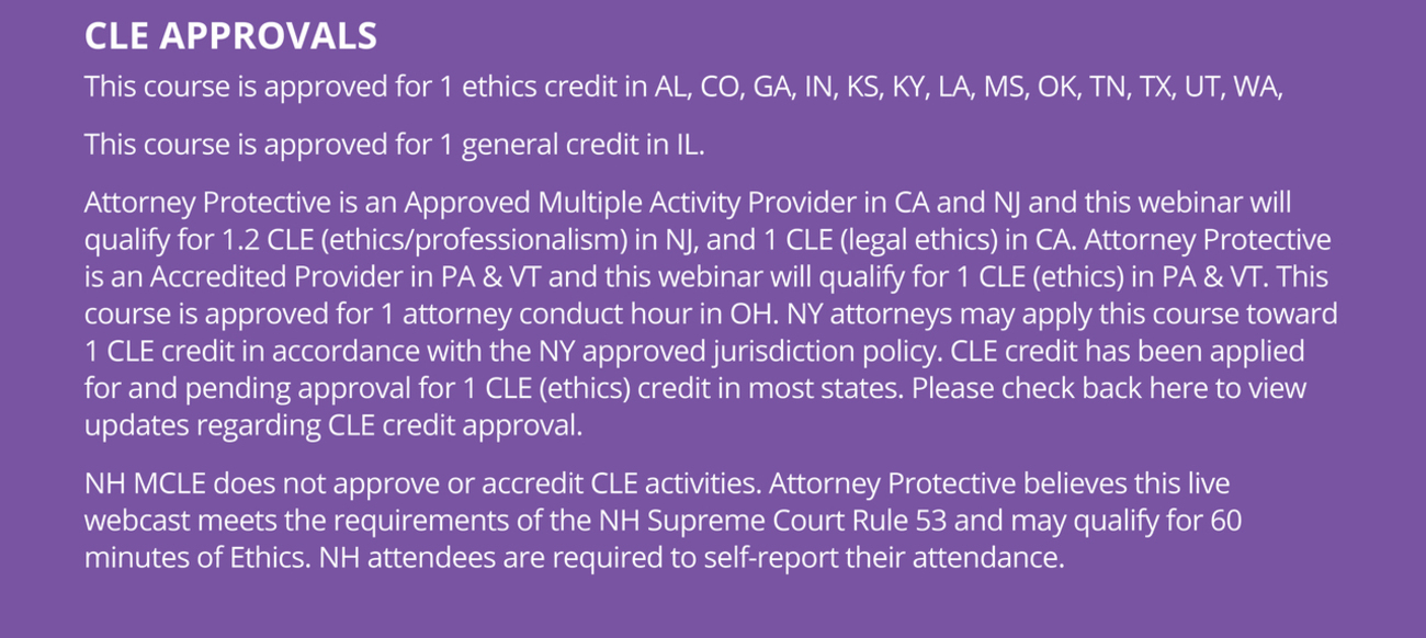 CLE Approvals