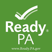 Green square Ready PA logo with checkmark and website ready.pa.gov