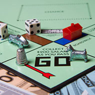 closeup of Monopoly board game