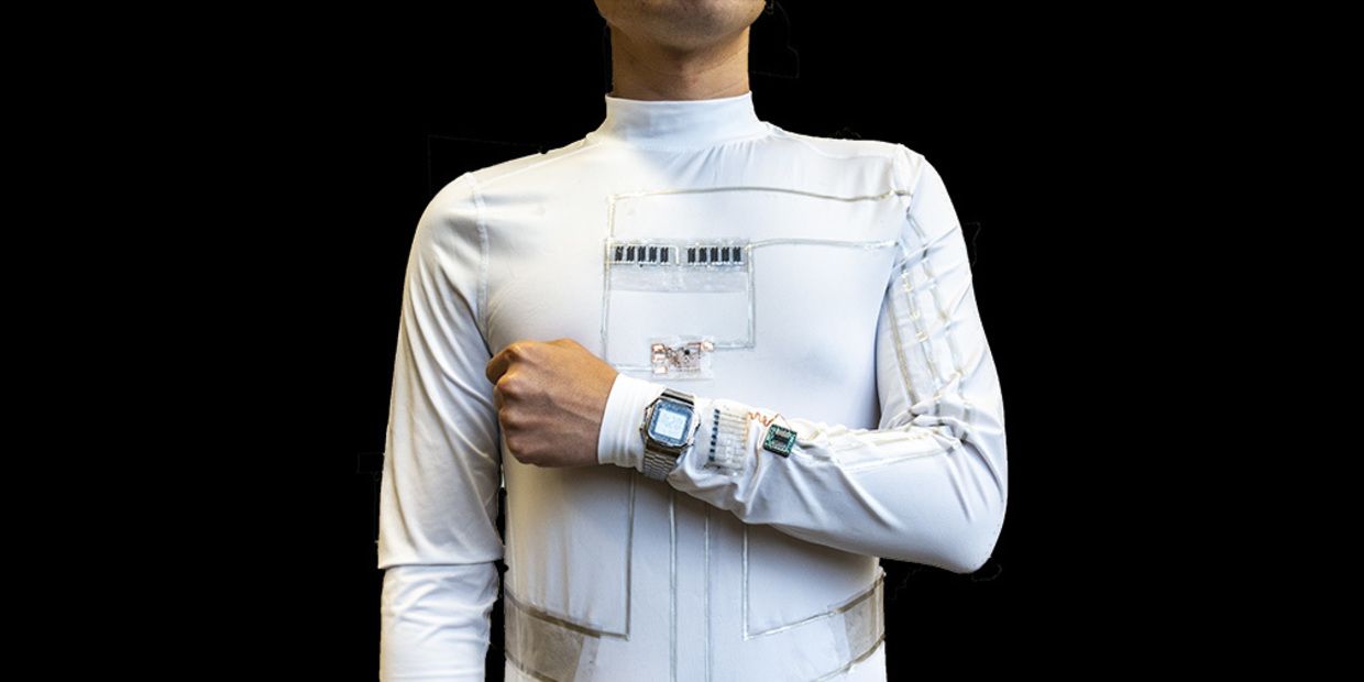 Person wearing a white microgrib suit