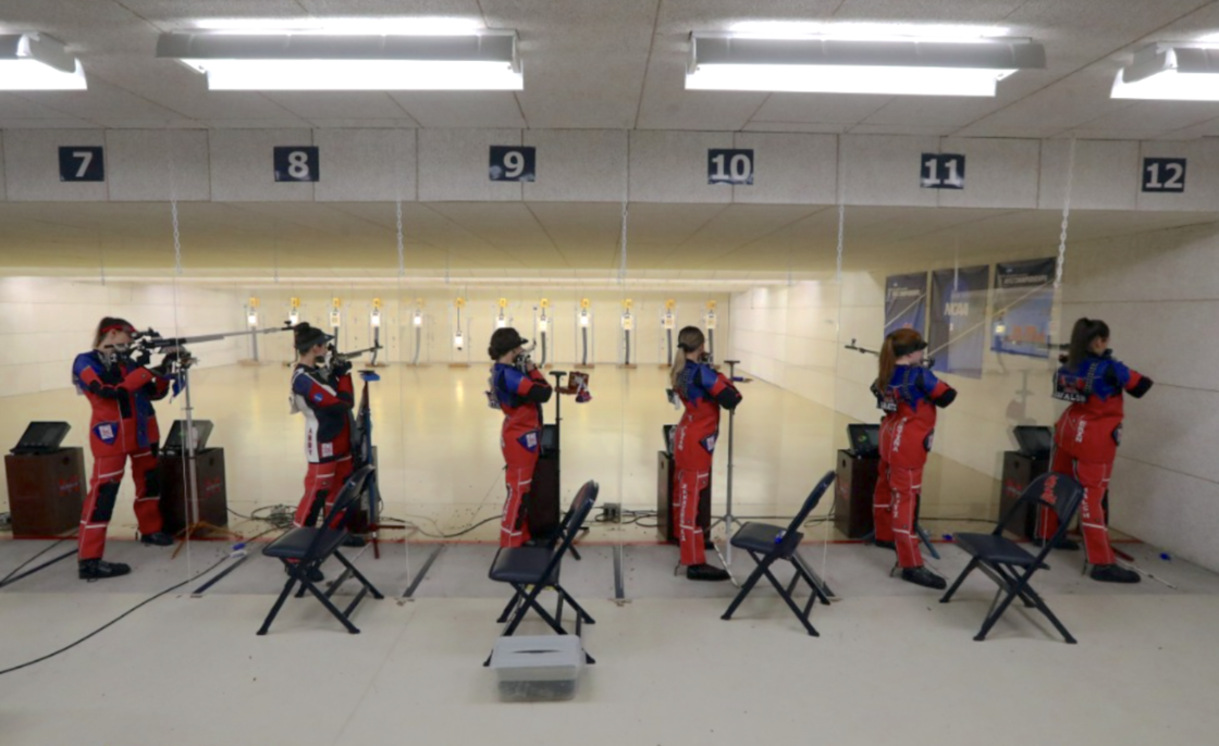 Rifle team lined up to shoot